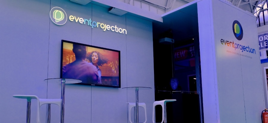 Event Projection's Event Production stand showcasing 3D Projection Mapping