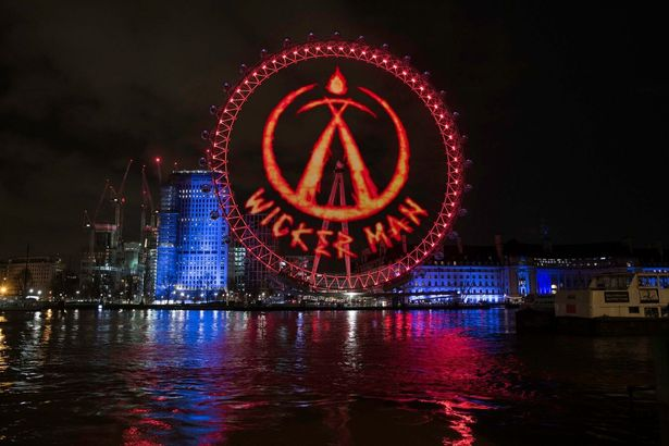 Projection onto London Eye for Alton Tower's Wicker Man ride