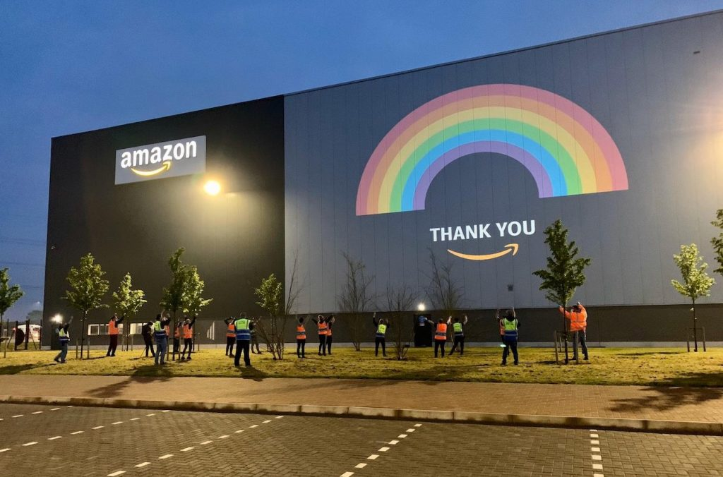 Amazon Thank you Projection during Covid-19